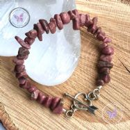 Rhodonite Chip Bracelet with Silver Heart Toggle Clasp
